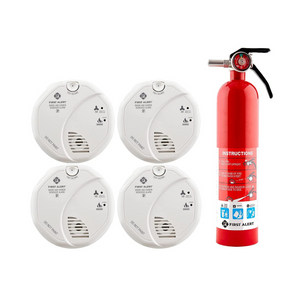 4 First Alert Smoke and Carbon Monoxide Detectors And Fire Extinguisher