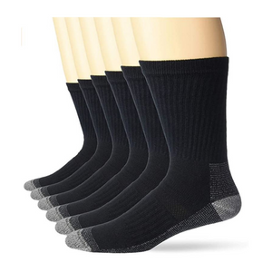 6 Pairs of Fruit of the Loom mens Cotton Work Gear Crew Socks
