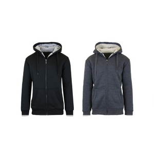 2 Men's Sherpa Lined Fleece Heavy Weight Hoodies (6 Colors)