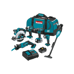 Makita 6 Piece 18V LXT Lithium-Ion Cordless Combo Kit