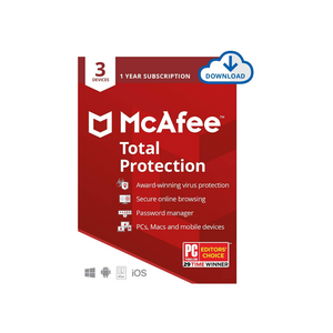 McAfee Total Protection, 3 Device, Antivirus Software, Internet Security, 1 Year Subscription