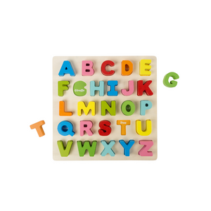 Wooden Alphabet Puzzle Board with Colorful Wood Letters