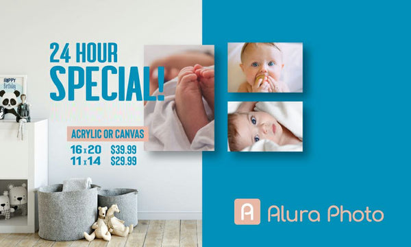 24 Hour Mega Sale! 45% Off Canvas or Acrylic prints at Aluraphoto.com