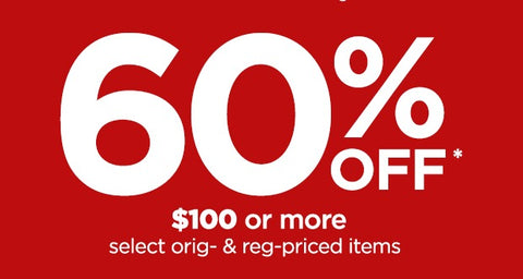 60% off $100 or more on select orders from JCPenney
