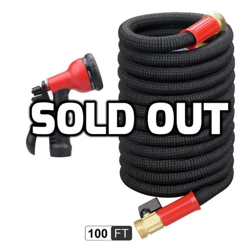 100 Foot Expandable Garden Hose With High Pressure Sprayer Nozzle