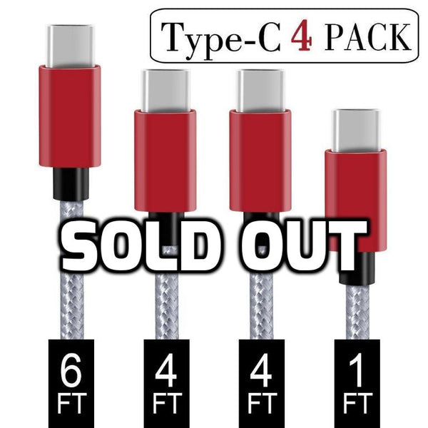Pack of 4 USB Type C Cables