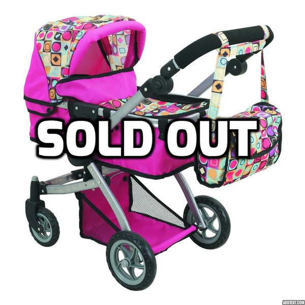 Doll Stroller with Swiveling Wheels, Adjustable Handle and Carriage Bag