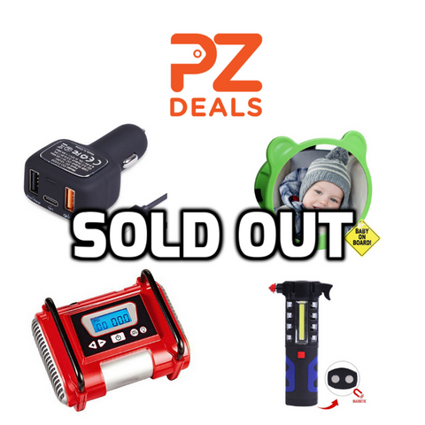 Safety vest, tire inflator, car charger, work light, windshield sunshade and baby car mirror