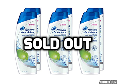 6 bottles of Head and Shoulders Green Apple 2-in-1 Anti-Dandruff Shampoo