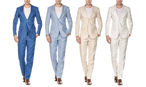 Gino Vitale Men's Slim-Fit 100% Linen Suit (2-Piece)