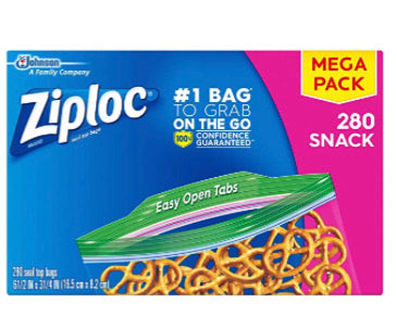 Pack Of 280 Ziploc Snack Bags