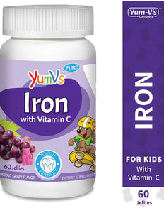 60 YUM-V's Iron Jellies/Gummy Bears for Kids w/Vitamin C, Grape Flavor Chewables