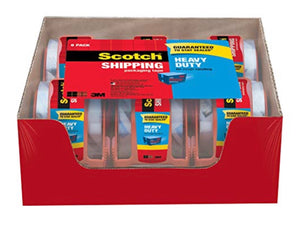 6 Rolls Of Scotch Heavy Duty Shipping Packaging Tape With Dispensers