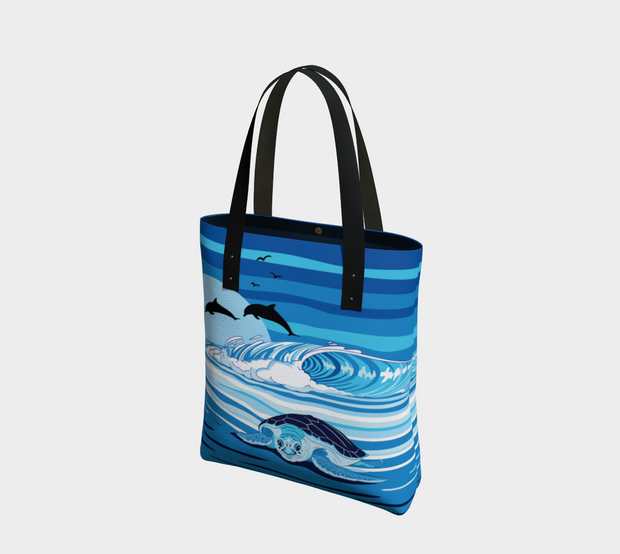Sea Turtle & Dolphins Blue Tote Bag