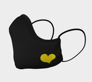 Black Shaped Face Mask with Yellow Heart
