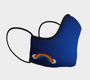 Blue Shaped Face Mask with Rainbow