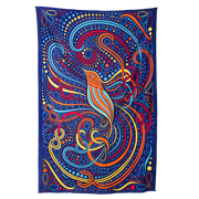 A dark blue tapestry, that has a yellow, blue, orange and brown hummingbird in the center, with swirls of red, orange, yellow and blue forming the wings and tail feathers. Patters of circles and dots fill in the open spaces around the swirls, and a flower outline is in each corner.