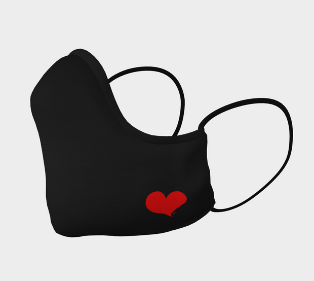 Black Shaped Face Mask with Red Heart