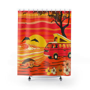 Van Camping on a Hawaii Beach Shower Curtain