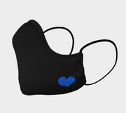 Black Shaped Face Mask with Blue Heart