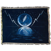 Grateful Dead Blue Moon Stealie Woven Cotton Blanket