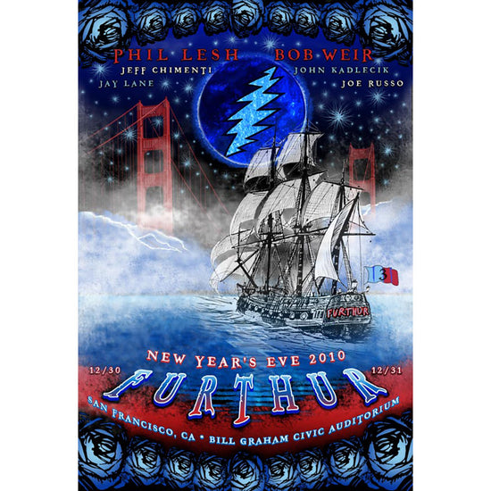 A pirate ship named Further sailing towards the Golden Gate Bridge on a starry night, under a blue moon with a lightening bolt. Blue roses run across the top and bottom, with artist names in three rows across the top and show info in three rows across the bottom.