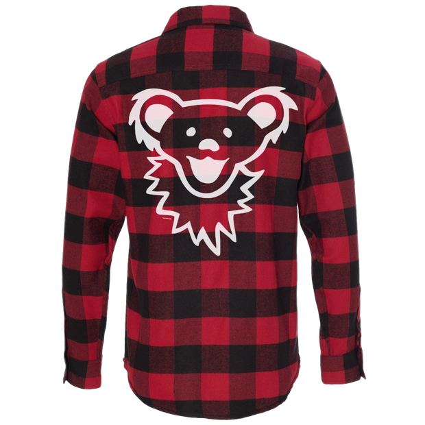 Red & Black Grateful Dead Dancing Bear Face Men's Flannel