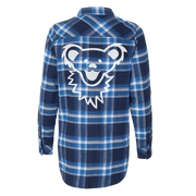 Blue & White Grateful Dead Dancing Bear Face Women's Flannel 30% OFF