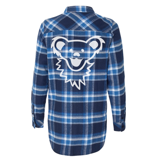 Blue & White Grateful Dead Dancing Bear Face Women's Flannel