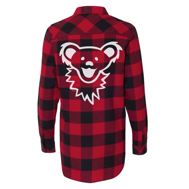 Red & Black Grateful Dead Dancing Bear Face Women's Flannel