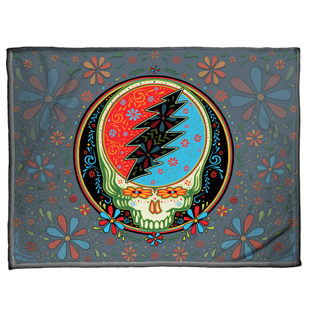 Grateful Dead Calaveras Stealie Coral Fleece Blanket