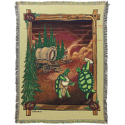Grateful Dead Covered Wagon Terrapins Woven Cotton Blanket Tan