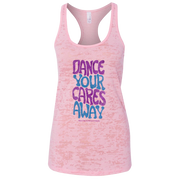 "Pink women's racer back tank that says ""Dance your cares away"" in purple and blue"