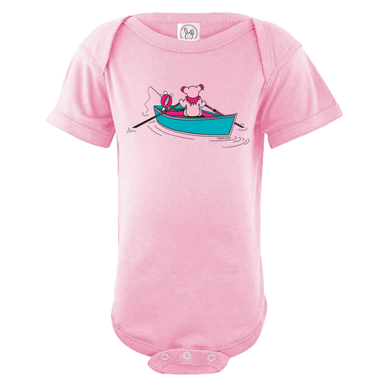 A Grateful Dead bear rowing a dinghy, while a Terrapin turtle fishes off the back, on a light pink infant one piece.