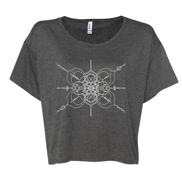 Black women's boxy crop-style tshirt with mandala inspired infinity design
