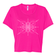 Neon pink women's boxy crop-style tshirt with mandala inspired infinity design