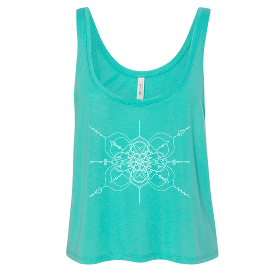 Teal women's flowy crop-style tank with mandala inspired infinity design