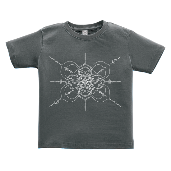 Black toddler tshirt with a mandala inspired infinity design