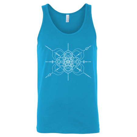 Neon blue unisex adult jersey tank with mandala inspired infinity design