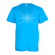 Neon blue youth tshirt with mandala inspired infinity design