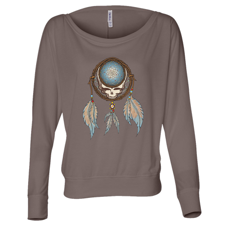 Grateful Dead Steal Your Face skull in a dream catcher with white and blue feathers hanging from it, on a brown women's off-shoulder long sleeve shirt