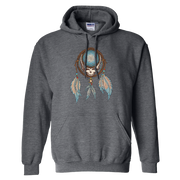 Grateful Dead Steal Your Face skull in a dream catcher with white and blue feathers hanging from it, on a grey unisex adult hoodie