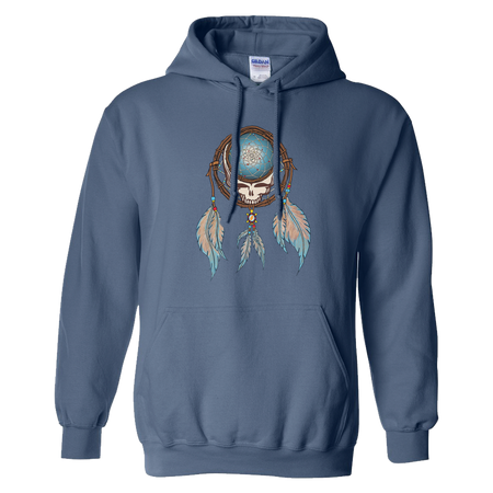 Grateful Dead Steal Your Face skull in a dream catcher with white and blue feathers hanging from it, on an indigo blue adult unisex hoodie