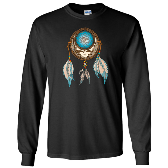 Grateful Dead Steal Your Face skull in a dream catcher with white and blue feathers hanging from it, on a black unisex adult long sleeve tshirt