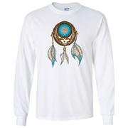 Grateful Dead Steal Your Face skull in a dream catcher with white and blue feathers hanging from it, on a white unisex adult long sleeve tshirt