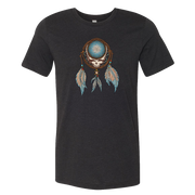 Grateful Dead Steal Your Face skull in a dream catcher with white and blue feathers hanging from it, on a black adult unisex tshirt