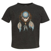 Grateful Dead Steal Your Face skull in a dream catcher with white and blue feathers hanging from it, on a black toddler tshirt