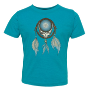 Grateful Dead Steal Your Face skull in a dream catcher with white and blue feathers hanging from it, on a turquoise toddler tshirt
