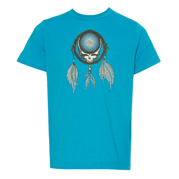 Grateful Dead Steal Your Face skull in a dream catcher with white and blue feathers hanging from it, on a turquoise youth tshirt