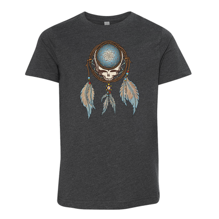 Grateful Dead Steal Your Face skull in a dream catcher with white and blue feathers hanging from it, on a dark grey youth tshirt